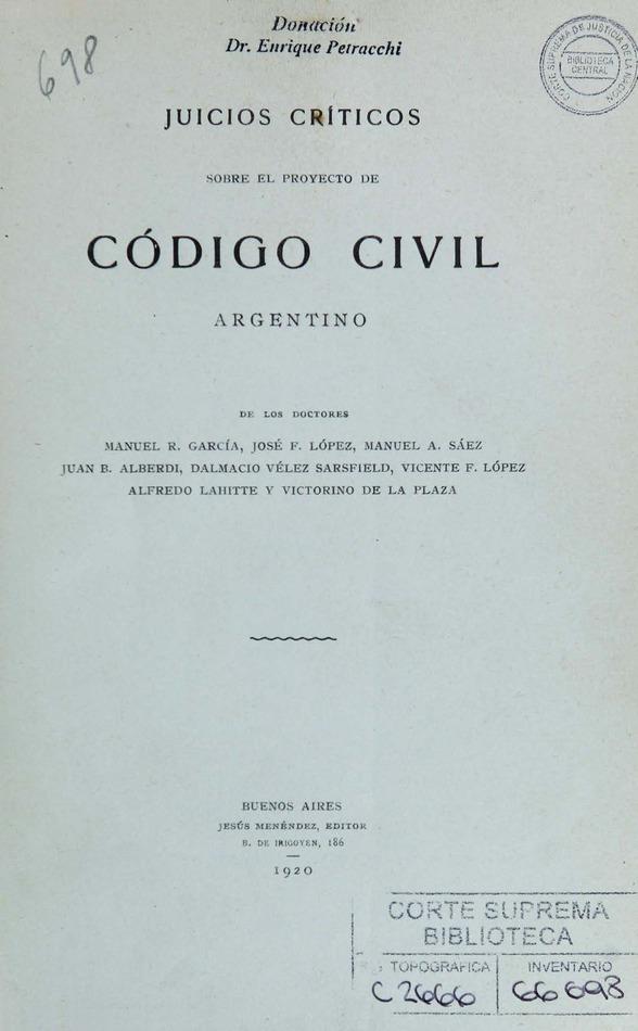 Juicios críticos sobre el proyecto de Código Civil argentino