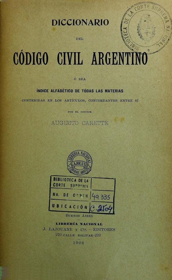 Diccionario del Código Civil Argentino